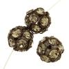 Rhinestone Bead 12mm Antique copper/ Black Diamond